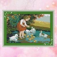 Joy sundayนับกรงนกขนาดชุดสาวน้อยและเป็ดสระว่ายน้ำdmc14ct11ct cottonfabric decoของที่ระลึกภาพวาดศิลปะโรงงานขายส่...