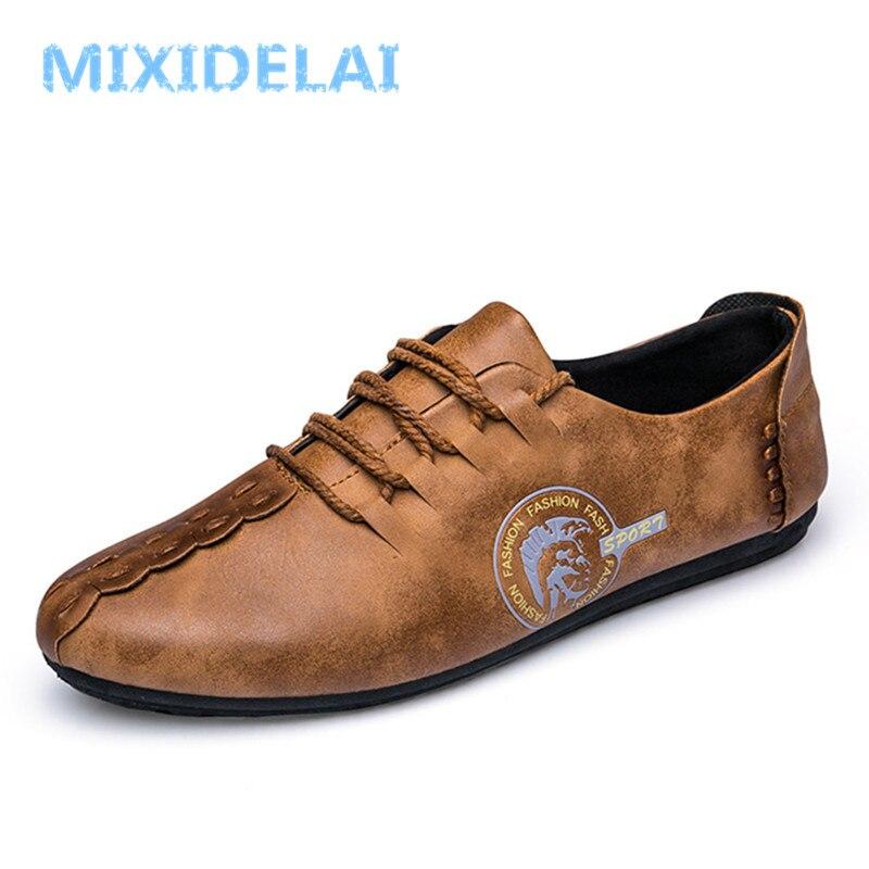 MIXIDELAI 2018 New Comfortable Casual Shoes Loafers Men Shoes Quality Split Leather Shoes Men Flats Hot Sale Moccasins Shoes men shoes 2017 new comfortable split leather casual shoes loafers quality men flats moccasins shoes size 39 44 602m