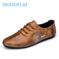MIXIDELAI 2018 New Comfortable Casual Shoes Loafers Men Shoes Quality Split Leather Shoes Men Flats Hot
