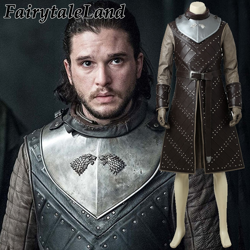 Game of Thrones Stagione 7 Jon Snow cosplay costume di Carnevale Costumi di Halloween per adulti uomo su misura Jon Snow costume suit