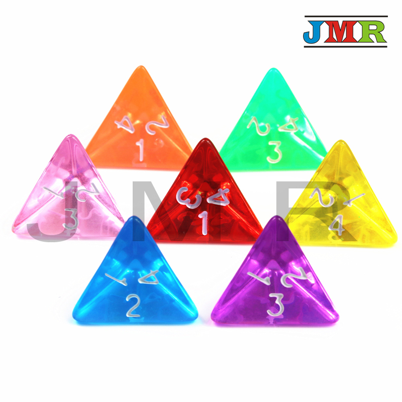 7PCS  Transparent TRPG D4 Dice For Dungeons & Dragons 4 Sided Games Rainbow Colors Desktop Game Pieces For Dnd,rpg