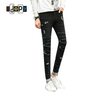 Idopy Men's Slim Fit Denim pants Big Hole In Knee Pants Skinny Jeans Black Pants Fashion Casual For Men фото