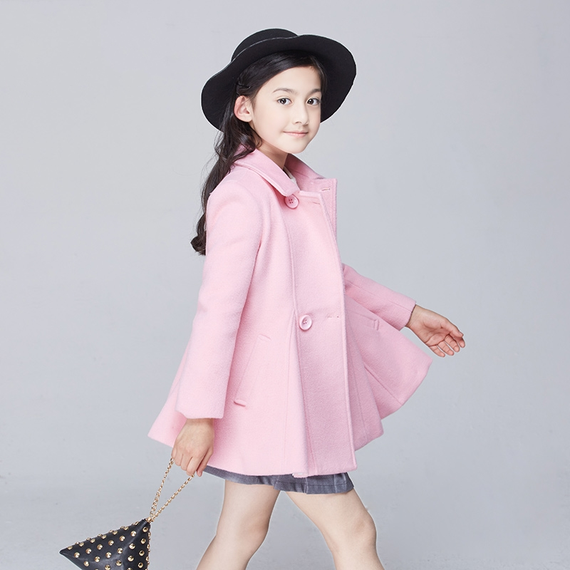 Female child woolen outerwear 2017 spring child woolen wool coat medium-long children's clothing free shipping 2014 woolen female child outerwear bow loose female child spring trench new arrival