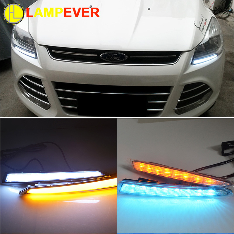 Yellow Turning Function Chromed ABS Cover 12V Car DRL LED