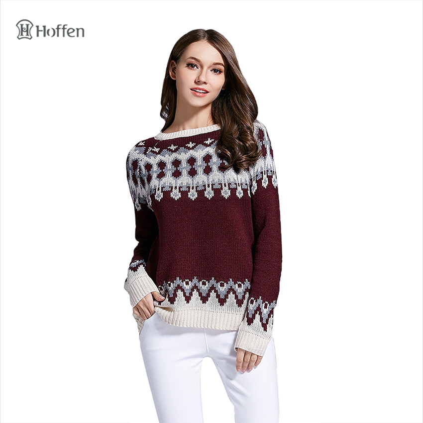 Hoffen 2017 New Winter Sweater O Neck Full Sleeve Jacquard Knitted Sweaters Casual Warm Christmas Pullovers Jumper Women WS21