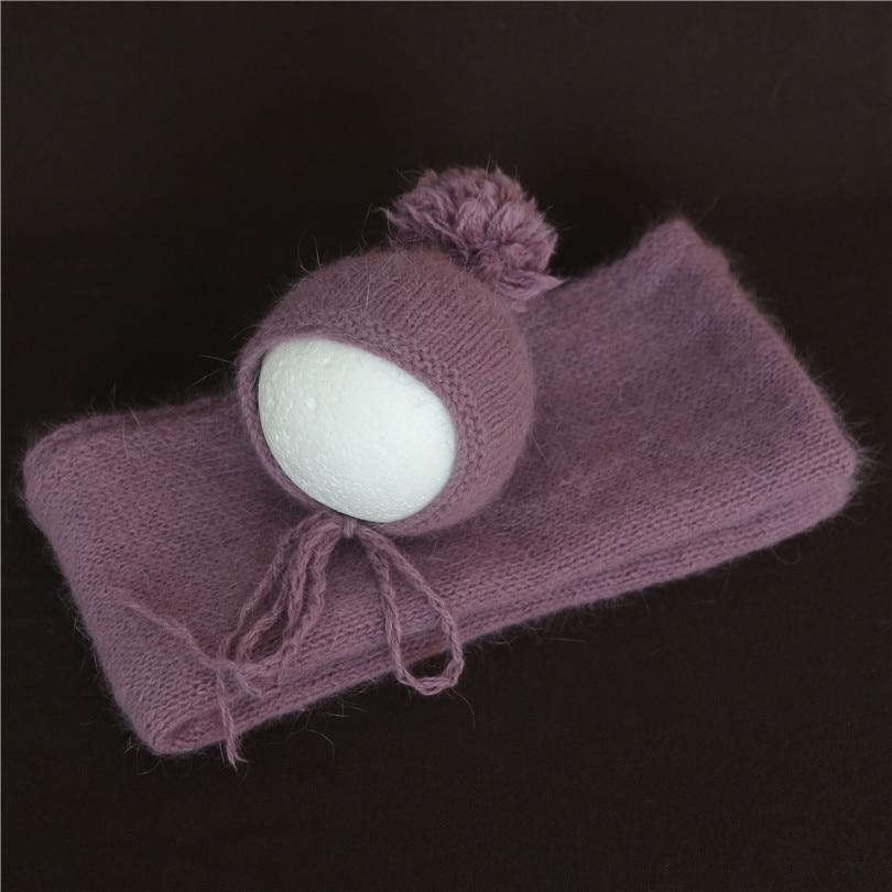 Handmade Baby Girl Angora Bonnet Crochet Pom Pom Hat Vintage Newbon Fluffy Swaddle Knit Wrap Infant Stretch Wraps Newborn Hat Year-End Bargain Sale Blanket & Swaddling Baby Bedding
