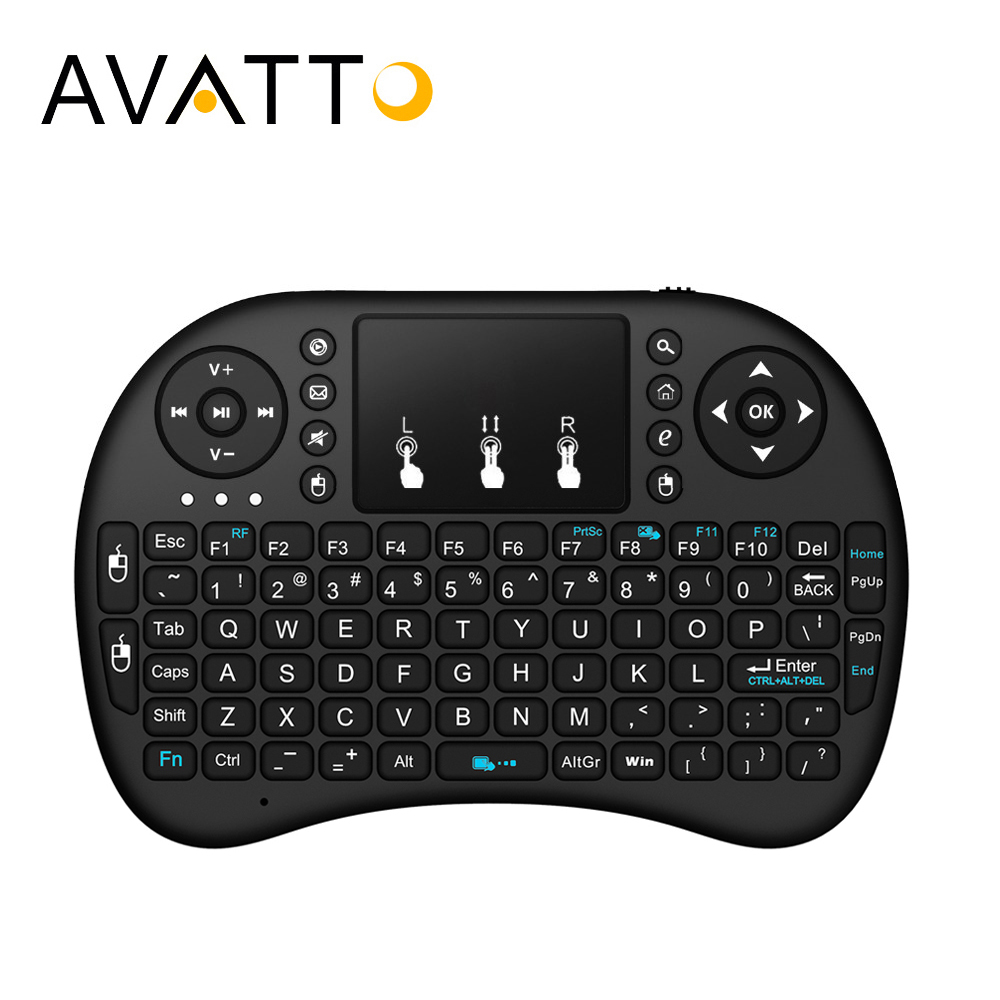 [AVATTO] inglés hebreo ruso árabe i8 mini teclado de juego con 2,4G inalámbrico TouchPad para PC portátil Android caja de TV inteligente