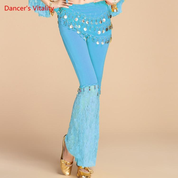 Women's Milk Silk + Lace Belly Dance Pants 7 Colors Workout Dance Pants For Bellydancer India Princess Sequins Belly Dance Free