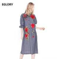 New Arrival 2018 Spring Casual Dress Women Striped Print Floral Embroidery Half Sleeve Loose Plus Size