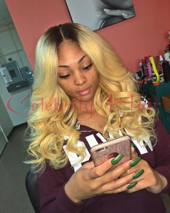 Black Ombre Blonde 27 Heat Resistant Synthetic Wigs