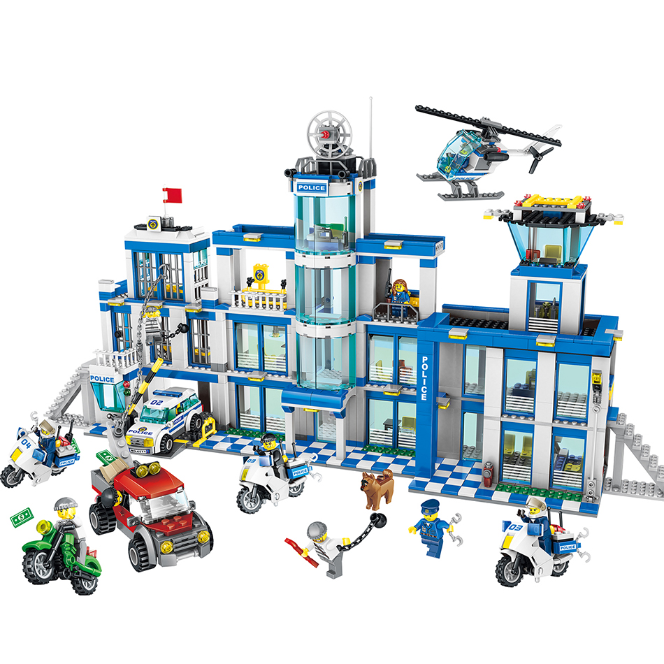 Qunlong 1397PCS City Police Station motorbike helicopter Model building kits compatible with legoe city blocks Educational toys decool 3117 city creator 3in1 vacation getaways building block 613pcs diy educational toys for children compatible legoe