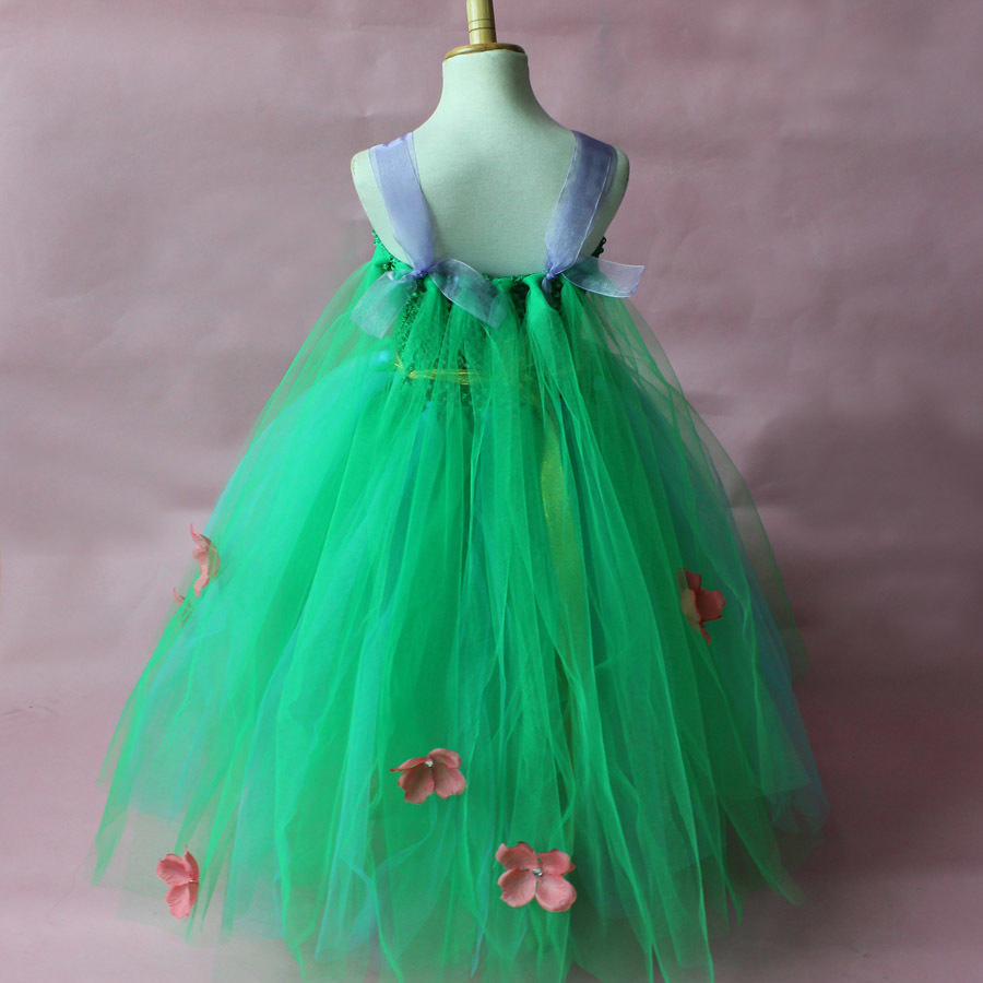 Green Girls Cosplay Elsa Dress Flower Princess Tutu Dress Children ...