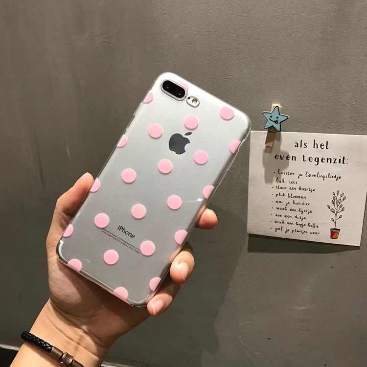 Lucu Polka Dots Bening TPU Ponsel Case untuk iPhone X Max X XR XS Lembut TPU Case untuk iPhone 6 6S 7 8 PLUS Ponsel Penutup Belakang