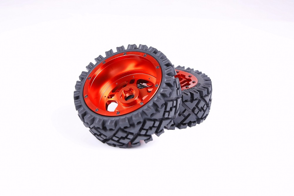 1/5 RC baja parts Rovan rc car parts Strong 5B baja Front full Terrain tyres set with CNC ALLOY Front Wheels hubs baja front alloy arm set fit for 1 5 rc car hpi rovan baja upgrade parts