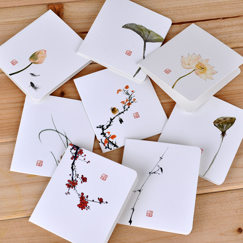 2Pcs/Lot New Chinese Painting Lotus Mini Greeting Card Postcard Birthday Letter Envelope Gift Card Set Message Card E0390