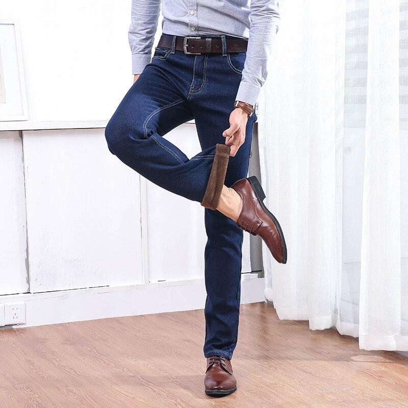 Mâle Thermique Droite Black Polaire Flanelle Flocage Célèbre Stretch Hiver Qualité Marque Hommes blue Jean Chaud Pantalon Jeans Blue 6AnwzzqPd