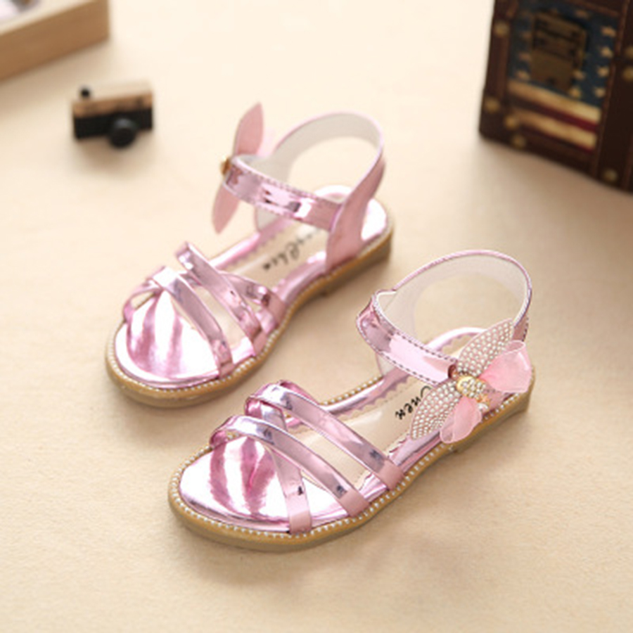 2017 Summer Diamond Bow Fashion Baby Girls Shoes Solid Color Banded Bowtie Yarn Children`s Sandals Single Girl Sandal 27-37