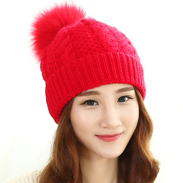 2017 Promotion Sale Solid Adult Beanie Hat Female Winter Hat, Knitted In Autumn And With Warm Velvet Ear Protective Sleeve Cap.