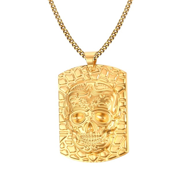 092733f2d Mens Skull Corss Lion Charm Dog Tag Necklace in Yellow Stainless Steel  Pendant Choker Biker Jewelry with 60cm Chain