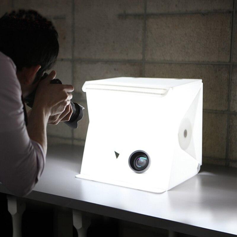 Mini Folding Studio Diffuse Soft Box Lightbox With LED Light Black White Photography Background Photo Studio box USB LED light