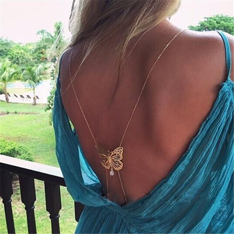 3efb4ed29e1f Aliexpress.com  Comprar Moda único collar largo espalda desnuda oro  mariposa collar de perlas simuladas para las mujeres XL 457 de pendant  mount fiable ...