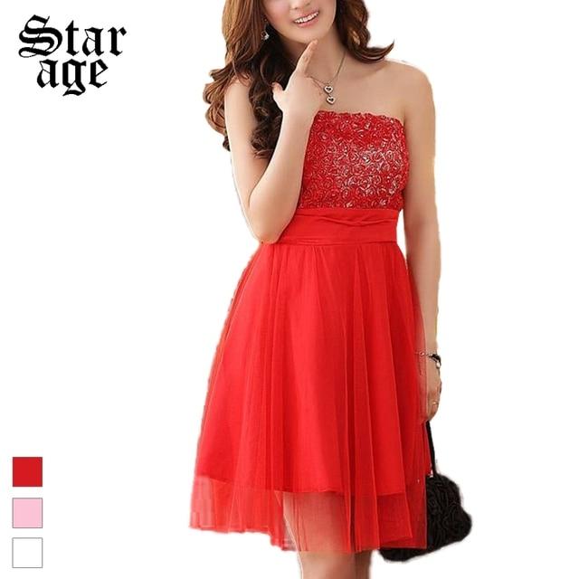L 3xl Plus Size Romantic 3d Rose Tube Top Mesh Party Dresses Short