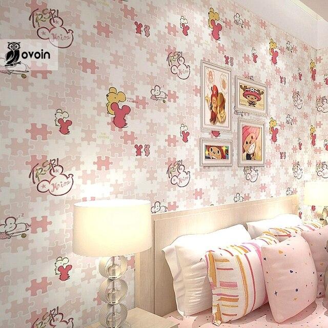 Cute Modern Kids Wallpaper Roll Cartoon Mouse Wall Paper For Children S Bedroom Nursery Wallcovering Pink Blue Orange