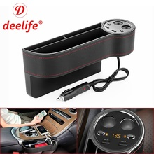 Deelife Car Seat Organizer Gap Storage Box Crevice PU Case Pocket Auto Side Slit for Keys Wallet Coins Phone USB Charger