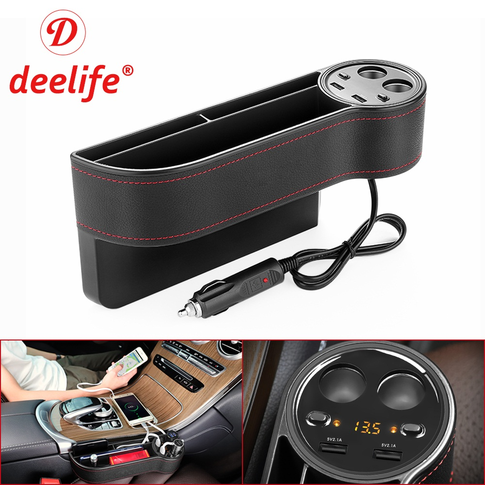 Deelife Car Seat Organizer Gap Storage Box Crevice PU Case Pocket Auto Seat Side Slit for Keys Wallet Coins Phone USB Charger