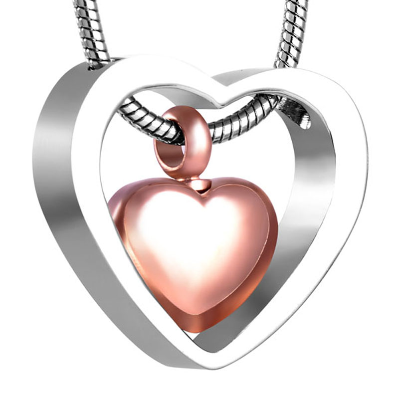 CMJ8078 316L Stainless Steel Rose Gold Heart Urn Cremation Jewelry Pendant Necklace Ashes Jewelry Fashion Necklace for Women