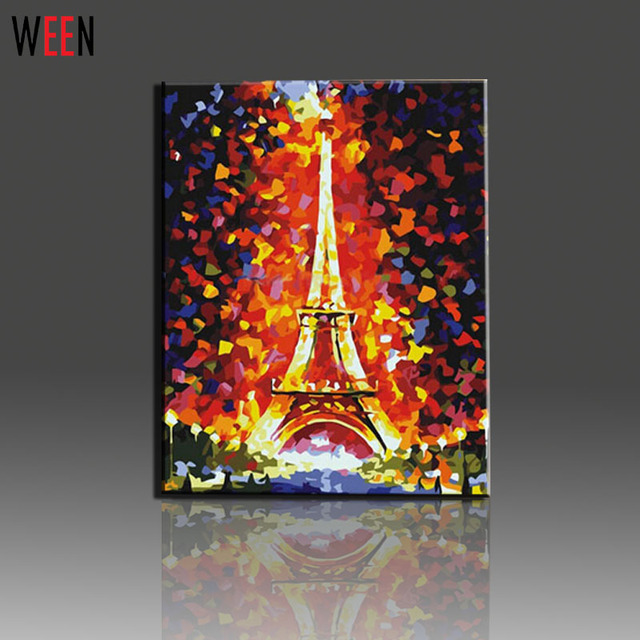 Tour Eiffel Peinture Par Numeros Sur Toile Kits Diy Peinture A L