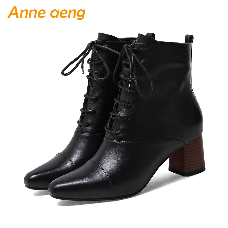 2019 New Genuine Leather Women Winter Ankle Boots High Heels Square Toe Lace-Up Sexy Ladies Warm Snow Boots Black Women Shoes 2017 new fashion lace up women boots genuine leather square heel black autumn winter sexy brand ladies ankle boots women shoes