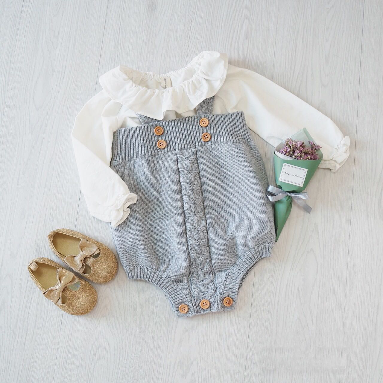 Ins hot style Children s clothing during the spring and autumn baby baby knitting jumpsuit dress