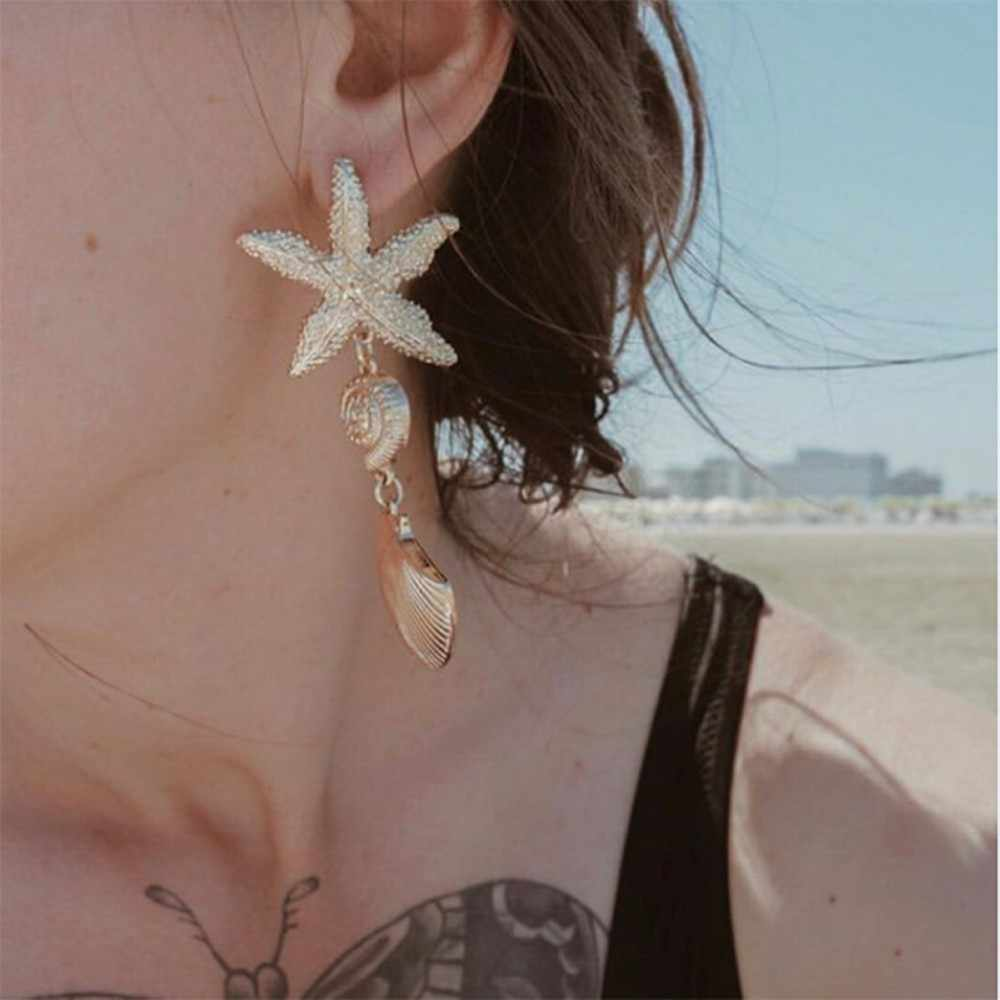 8 Seasons Baru Fashion Emas Warna Shell Starfish Asimetris Drop Anting-Anting untuk Wanita Musim Panas Pantai Pesta Laporan Anting-Anting Perhiasan