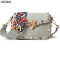 Shoulder Strap Bag Designer Rivet Crossbody Bag Fashion Turquoise Women Leather Handbag High Quality Luxury Evening