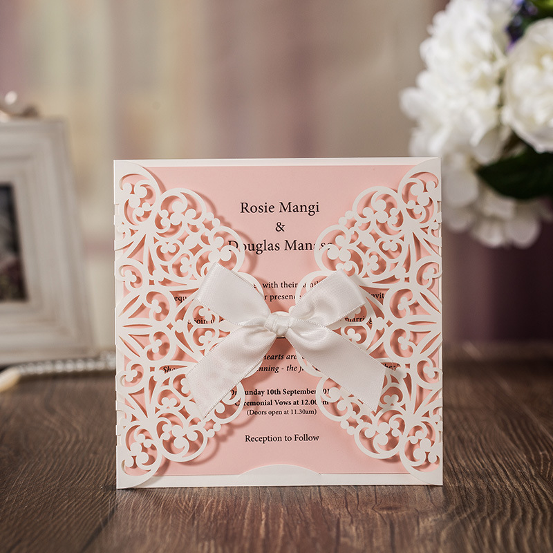 50Pcs Flower Laser Cut Wedding Invitation Card Greeting Card With Ribbon Baby Shower Wedding Event Party Supplies Decoration 1 design laser cut white elegant pattern west cowboy style vintage wedding invitations card kit blank paper printing invitation
