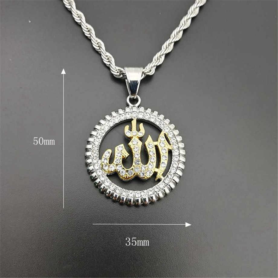Religijne okrągłe Allah wisiorek naszyjniki złoty kolor naszyjnik ze stali nierdzewnej naszyjnik ze strasu Iced Out Bling islamska biżuteria