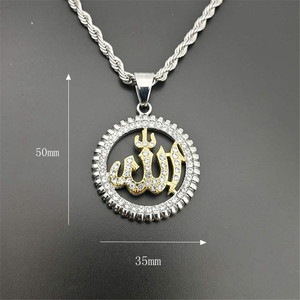 Image 3 - Religious Round Allah Pendant Necklaces Gold Color Stainless Steel Rhinestones Necklace Iced Out Bling Islamic Jewelry