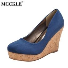 Mcckle/женские высокий каблук пикантные нарядные туфли-лодочки женские с острым носком Обувь без застежки на танкетке женская обувь из флока на платформе женские черные
