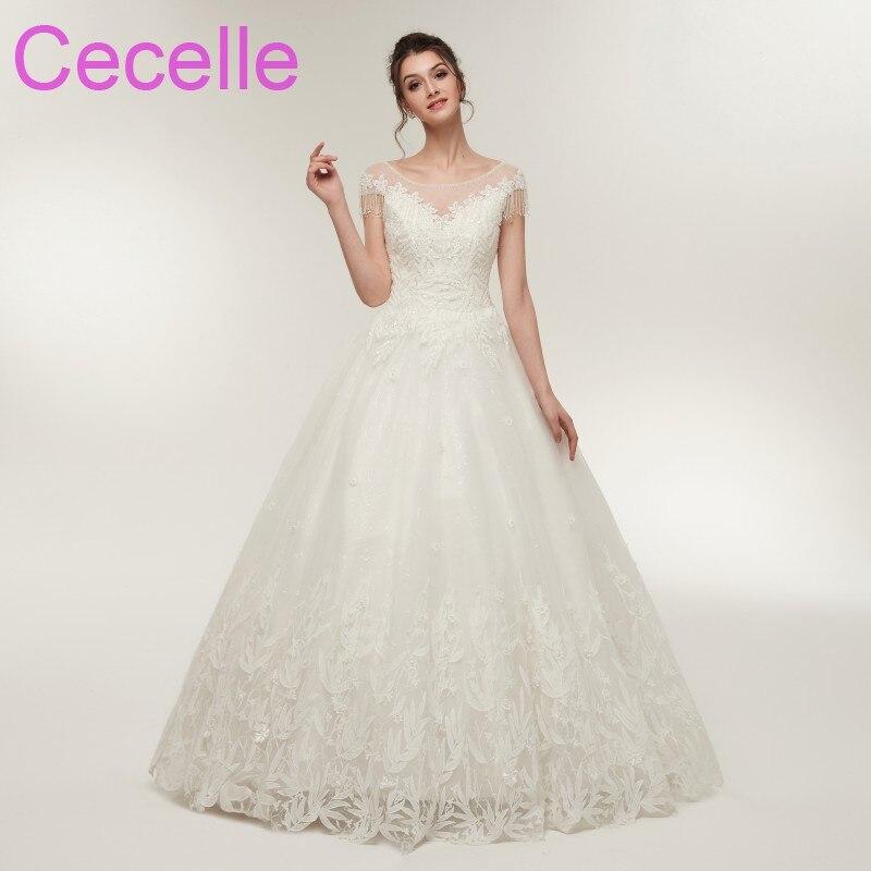 2018 New Designer Ball Gown Wedding Dresses Cap Sleeves Jewel Neck ...