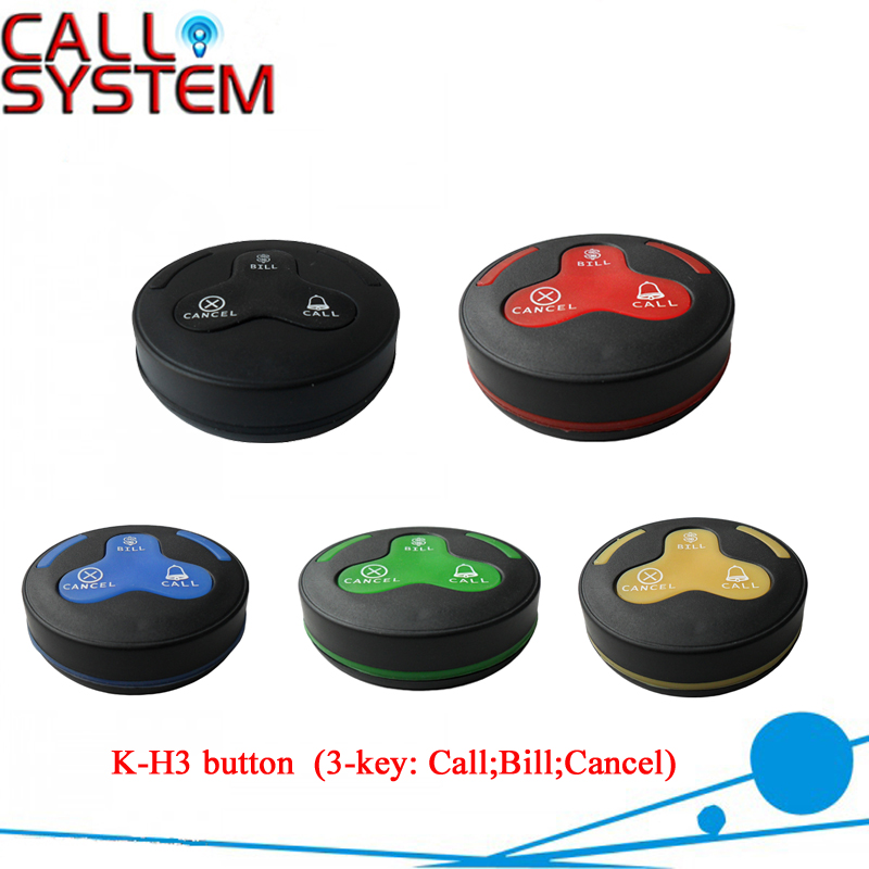 10pcs 3buttons Restaurant Waiter Caller Buzzer 100% waterproof (call;bill;cancel) for bar/pub/casino/bistro digital wireless call pager system for restaurant equipment 5 receiver for waiter and 42 service buzzer for guest use