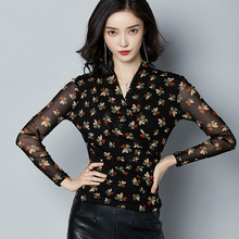 Elegant Black red fashion chiffon Blouse Women sexy V neck flower print Long Sleeve Sexy Top 2019 Spring Autumn 615J