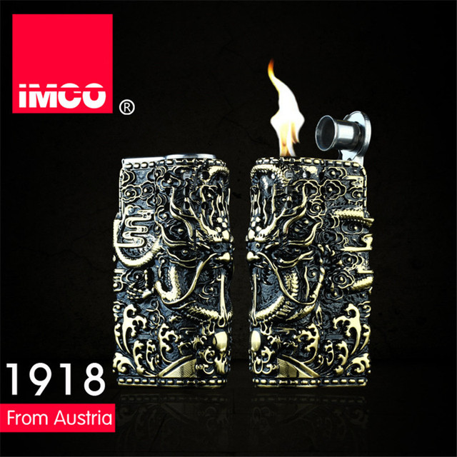 Genuine IMCO Lighter Retro 3D Relief Dragon Gasoline Kerosene Lighter Original Cigarette Lighter Cigar Fire Petrol Lighters