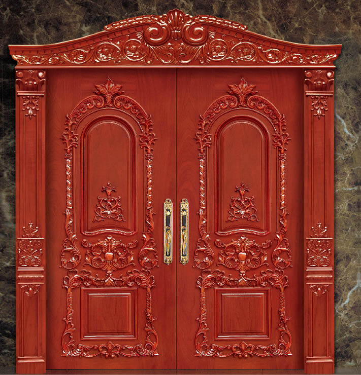 2016 Hot Sale Top Quality Entry Solid Wood Door Enterior Wooden Door Hotel Security Doors Antique Villas Door