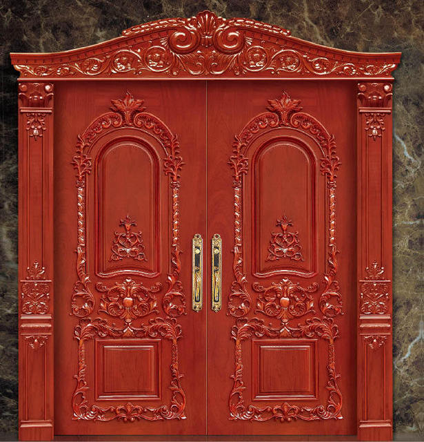 2016 hot sale top quality entry solid wood door enterior wooden door hotel  security doors antique - 2016 Hot Sale Top Quality Entry Solid Wood Door Enterior Wooden Door