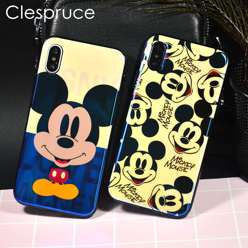 Clespruce Cartoon Mickey Cases For iPhone X 7 6 6S Plus Soft Blu-ray Mouse Silicone brilliant Cover for iPhone 8 7Plus shell