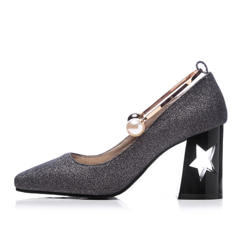 Plus Size 32-48 Elegant Women Shoes Party Pumps Bling Chunky High Heels Concise Brand Femmes Sexy Fashion Pumps Zapatos Mujer