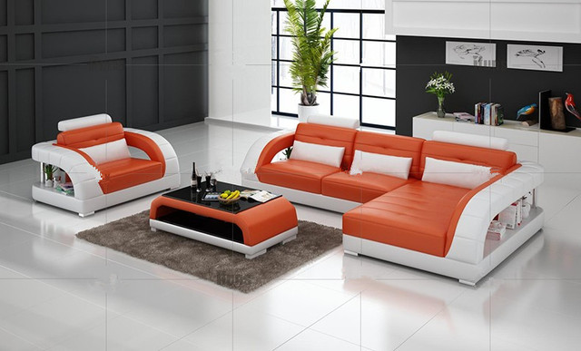 Modern sectional leather sofa for living room sofa L shaped sofa ...