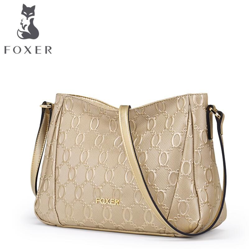 FOXER 2017 new cowhide women leather bag famous brands leather women bag fashion women leather shoulder Crossbody bags мыльница iddis mirro