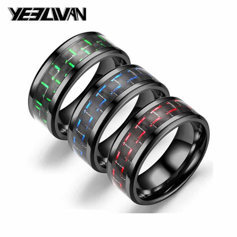 Punk ไทเทเนียมคาร์บอนไฟเบอร์สีดำ Mens แหวน 6 สไตล์แฟชั่นสีแดงสีฟ้าสีเขียวแหวน Anel Masculino เครื่องประดับขายส่ง